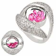 Red ruby quartz topaz 925 sterling silver moving stone ring size 8 a70274