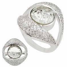 White cubic zirconia topaz 925 sterling silver moving stone ring size 7 a70275