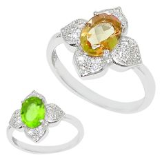 Green alexandrite (lab) topaz 925 sterling silver ring size 7.5 a70688
