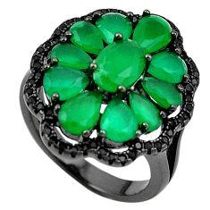 Natural green emerald quartz topaz black rhodium 925 silver ring size 6.5 a71143