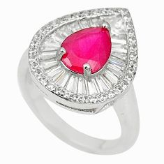 Red ruby quartz topaz 925 sterling silver ring jewelry size 7.5 a71146