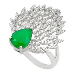 Natural green emerald quartz white topaz 925 silver ring size 8 a71360