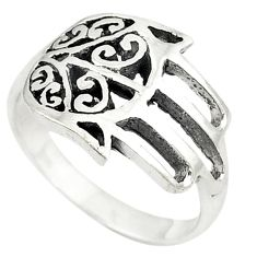 Indonesian bali style solid 925 silver hand of god hamsa ring size 9.5 a72204