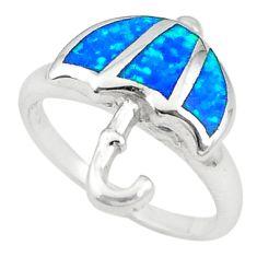 925 silver blue australian opal (lab) enamel umbrella ring size 7 a72388