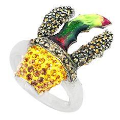 Yellow topaz quartz marcasite enamel 925 silver ring size 6.5 a72403