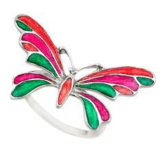 White enamel 925 sterling silver butterfly ring jewelry size 8.5 a72842