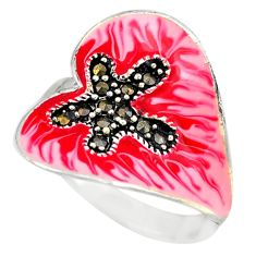 Fine marcasite enamel 925 sterling silver ring jewelry size 8.5 a72890