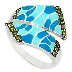 Fine marcasite enamel 925 sterling silver ring jewelry size 8.5 a72896