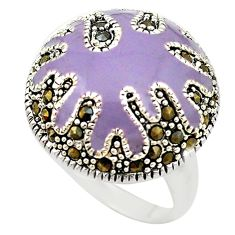 Fine marcasite enamel 925 sterling silver ring jewelry size 7.5 a72899