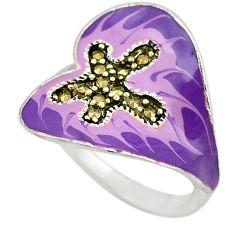 Swiss marcasite enamel 925 sterling silver heart ring size 8 a72901