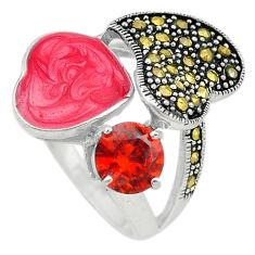 Red garnet quartz marcasite enamel 925 silver ring jewelry size 6 a72912