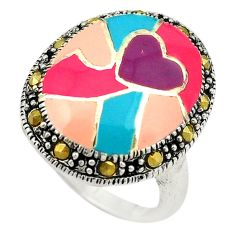 Marcasite enamel 925 sterling silver ring jewelry size 6.5 a72919