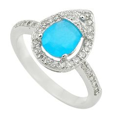 Natural aqua chalcedony topaz 925 sterling silver ring jewelry size 9 a73077