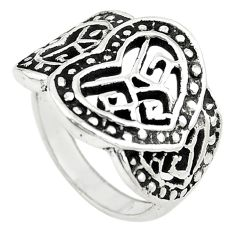 Indonesian bali style solid 925 sterling silver heart shape ring size 6 a73139