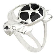 925 sterling silver black onyx enamel tortoise ring jewelry size 7 a73140