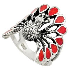 Red sponge coral enamel 925 silver peacock ring jewelry size 6.5 a73142