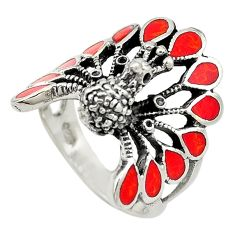 Red sponge coral enamel 925 silver peacock ring jewelry size 7.5 a73160