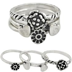 Indonesian bali style solid 925 silver flower 3 band rings size 5.5 a73206