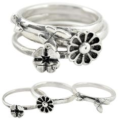Indonesian bali style solid 925 silver flower 3 band rings size 6 a73222