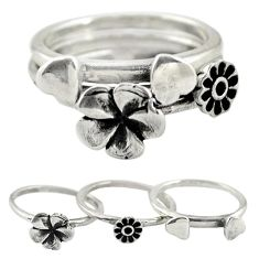 Indonesian bali style solid 925 silver flower 3 band rings size 6 a73223