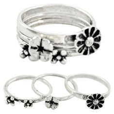 Indonesian bali style solid 925 silver flower 3 band rings size 6 a73228
