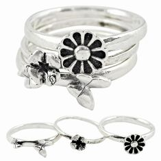 Indonesian bali style solid 925 silver flower 3 band rings size 7.5 a73229