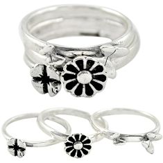 Indonesian bali style solid 925 silver flower 3 band rings size 7 a73231
