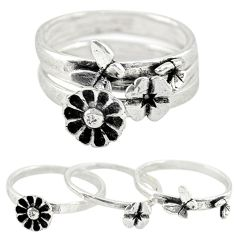 Indonesian bali style solid 925 silver flower 3 band rings size 7 a73233