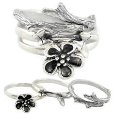925 silver indonesian bali style solid flower 3 band rings size 6 a73235