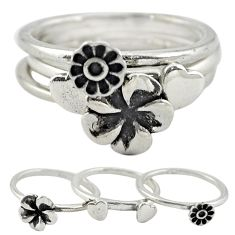 Indonesian bali style solid 925 silver flower 3 band rings size 7 a73238