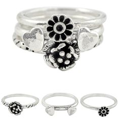 Indonesian bali style solid 925 silver flower 3 band rings ring size 5.5 a73239