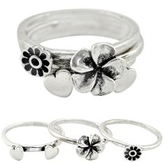 925 silver indonesian bali style solid flower 3 band rings ring size 7.5 a73240