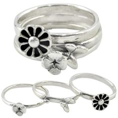 Indonesian bali style solid 925 silver flower 3 band rings size 8.5 a73248