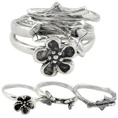 Indonesian bali style solid 925 silver flower 3 band rings ring size 6 a73255