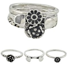 Indonesian bali style solid 925 silver flower 3 band rings size 5.5 a73262