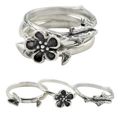 Indonesian bali style solid 925 silver flower 3 band rings size 6.5 a73263