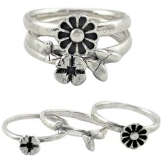 925 silver indonesian bali style solid flower 3 band rings size 7 a73269