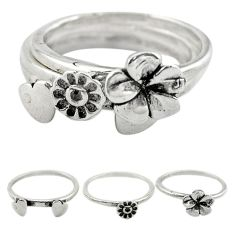 Indonesian bali style solid 925 silver flower 3 band rings size 7.5 a73272