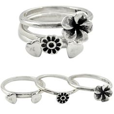 Indonesian bali style solid 925 silver flower 3 band rings size 7.5 a73273