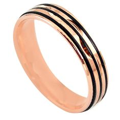 Indonesian bali style solid 925 silver 14k rose gold band ring size 7.5 a73277