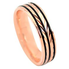 Indonesian bali style solid 925 silver 14k rose gold band ring size 7.5 a73278