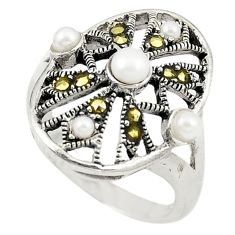 Natural white pearl marcasite 925 sterling silver ring size 5.5 a73283
