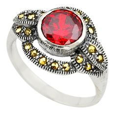 Red garnet quartz marcasite 925 sterling silver ring jewelry size 5.5 a73299