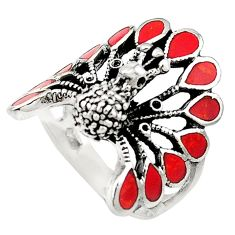 Red coral enamel 925 sterling silver peacock ring size 7.5 a73425