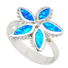 Blue australian opal (lab) enamel 925 silver flower ring size 7.5 a73443