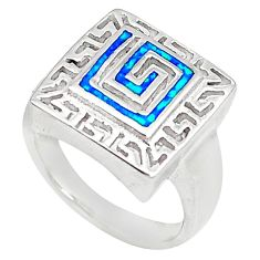 Blue australian opal (lab) enamel 925 sterling silver ring size 6.5 a73466