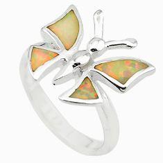 Pink australian opal (lab) 925 silver butterfly ring jewelry size 7.5 a73492