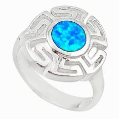 Blue australian opal (lab) enamel 925 sterling silver ring jewelry size 7 a73495