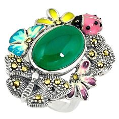 Natural green chalcedony marcasite enamel 925 silver ring size 5.5 a73553