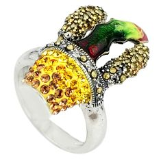 Yellow topaz quartz marcasite enamel 925 silver ring jewelry size 5.5 a73569